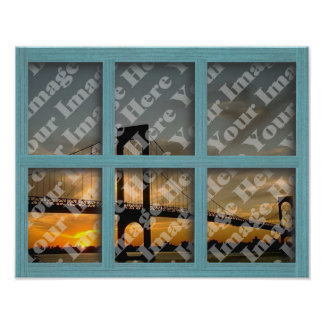 Create Your Own 6 Pane Green Wood Window Frame Poster