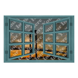 Create Your Own 6 Pane Green Wooden Open Window Poster