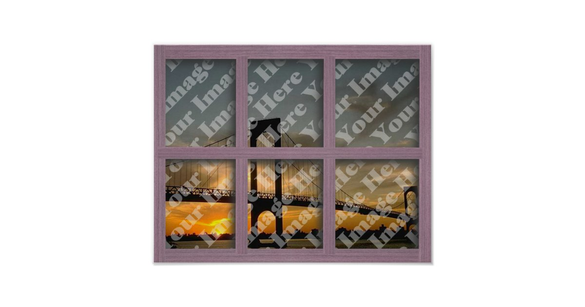 Create your own 6 pane pink wood window frame poster zazzle for Build your own window