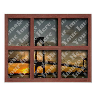 Create Your Own 6 Pane Red Wood Window Frame Poster