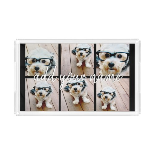 Create Your Own 6 Photo Collage  Name Edit Color Acrylic Tray