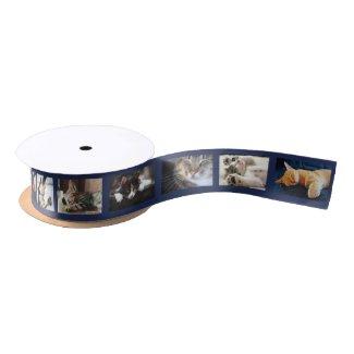 Create Your Own 6 Photo Collage Navy Film Strip Satin Ribbon