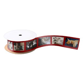 Create Your Own 6 Photo Collage Red Film Strip Satin Ribbon