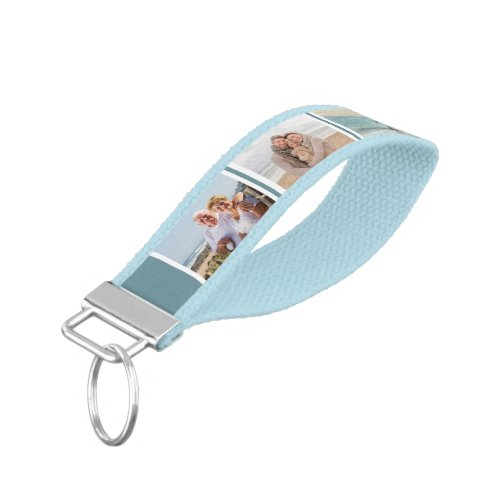 Create your Own 6 Photo Collage Storm Blue Grey Wrist Keychain