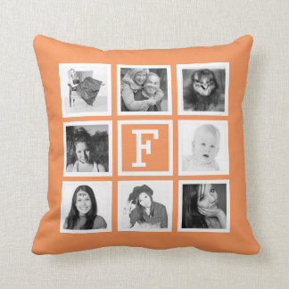 Create Your Own 8 Instagram Pics with Monogram Throw Pillow