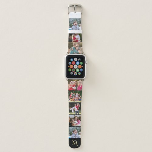 Create Your Own 8 Photo Collage Gold Monogrammed Apple Watch Band