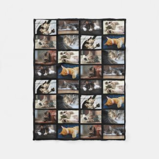 Create Your Own 8 Photo Collage on Black Fleece Blanket
