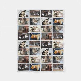 Create Your Own 8 Photo Collage on Gray Fleece Blanket