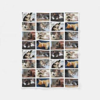 Create Your Own 8 Photo Collage on White Fleece Blanket