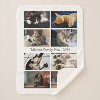 Create Your Own 8 Photo Collage with Name on White Sherpa Blanket