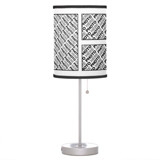 create your own add 6 mixed photos table lamp zazzle. Black Bedroom Furniture Sets. Home Design Ideas
