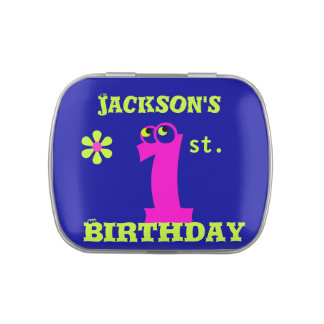 create your own, baby girl  first 1st. birthday candy tins