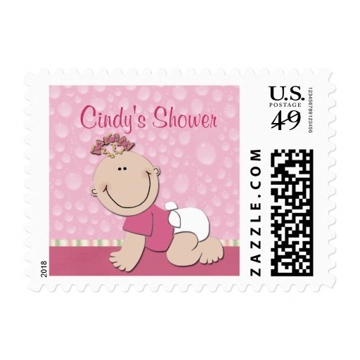 Create your own baby shower postage stamps