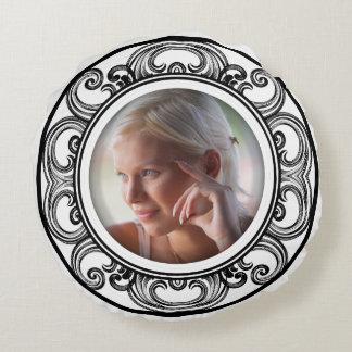 Create-Your-Own Baroque Photo Frame Fashion Pillow Round Pillow