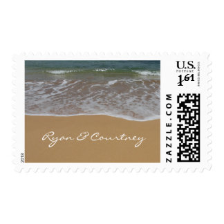 Create your own beach theme postage stamps