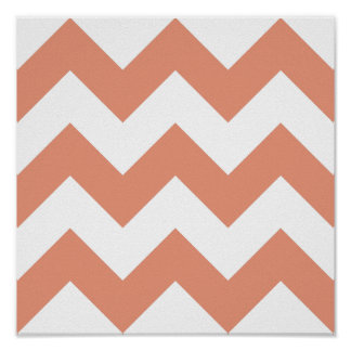 Create Your Own Big Dark Salmon Zigzag Pattern Poster