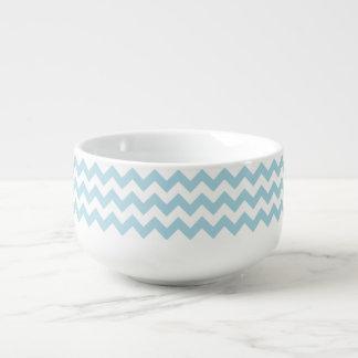 Create Your Own Big Light Blue Zigzag Pattern Soup Mug