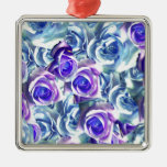 Create your own blue rose personalized gifts christmas ornaments