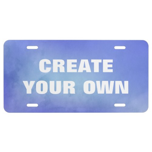 Create Your Own Blue Watercolor Painting License Plate