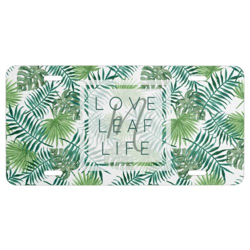 Create Your Own Botanical Leaf Pattern Monogram License Plate