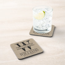 Create Your Own Burlap Logo Anniversary Monogram Beverage Coaster