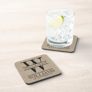 Create Your Own Burlap Logo Anniversary Monogram Beverage Coaster