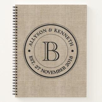 Create Your Own Burlap Logo Anniversary Monogram Notebook