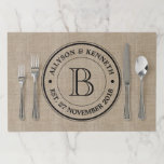 """Create Your Own Burlap Logo Anniversary Monogram Paper Placemat<br><div class=""""desc"""">Make your own simple, classy, unique monogram with this custom logo design with retro typography over a light, natural brown burlap image background. Replace the sample text with your family initial, names, wedding date or other text for a personalized gift. Makes a wonderful gift for Wedding, Anniversary, housewarming or hostess,...</div>"""