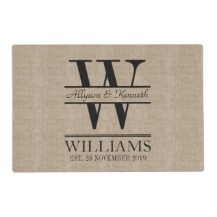 Create Your Own Burlap Logo Anniversary Monogram Placemat at Zazzle