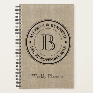 Create Your Own Burlap Logo Anniversary Monogram Planner