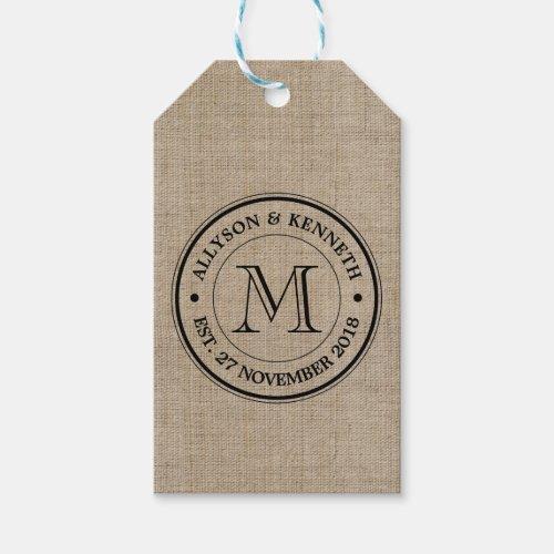Create Your Own Burlap Retro Logo Monogram Gift Tags