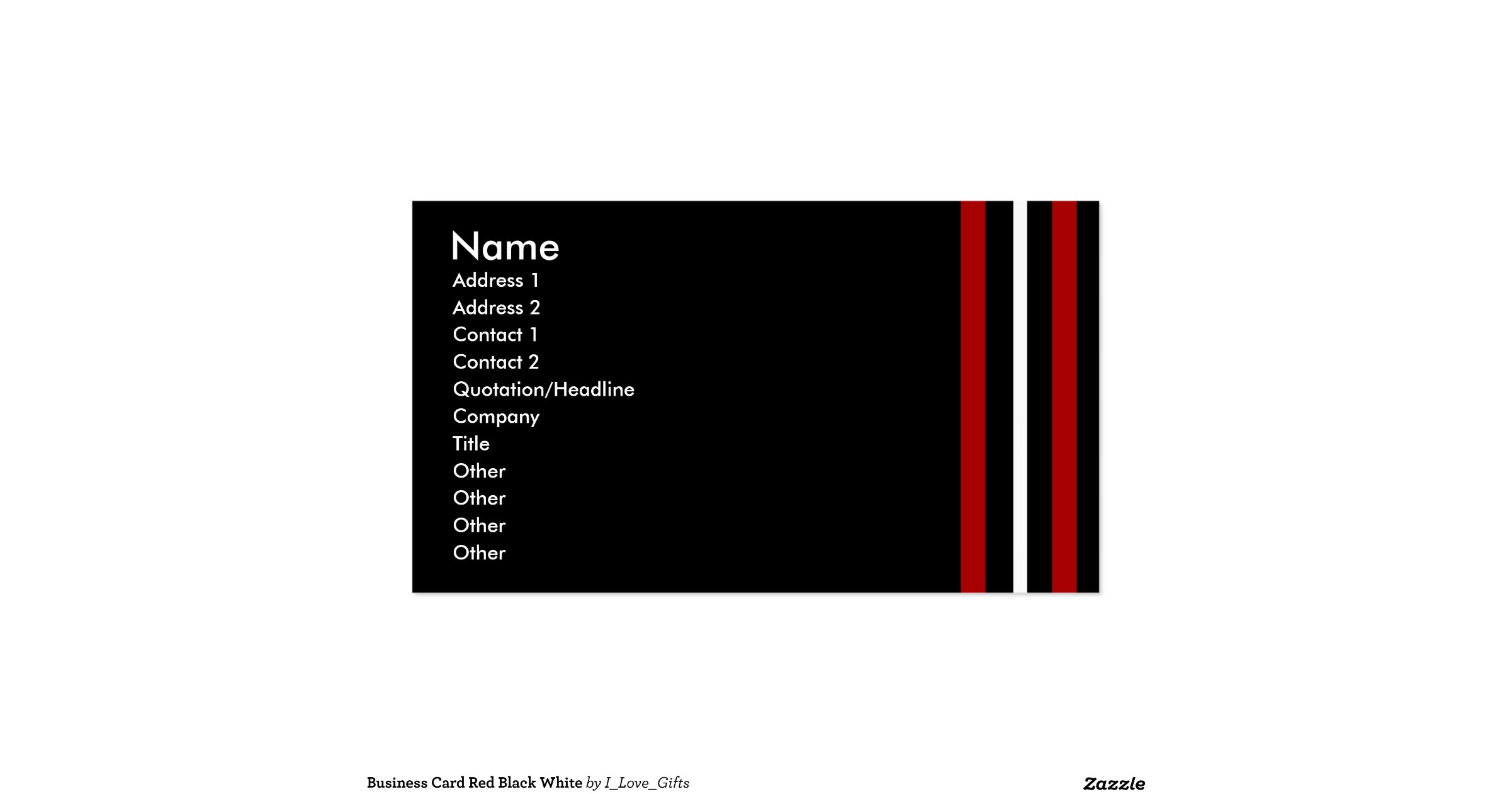 Create Your Own Business Card Red Black White