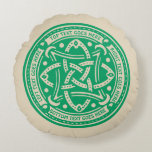 Create Your Own Celtic Knot Shamrock Green Irish Round Pillow