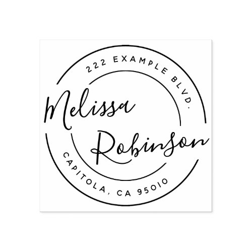 Create Your Own Circle Return Address Script Name Rubber Stamp