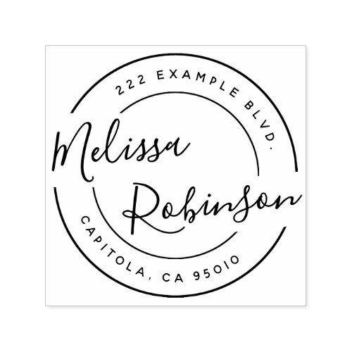 Create Your Own Circle Return Address Script Name Self_inking Stamp