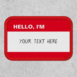 Create Your Own Classic Name Tag Red and White Patch