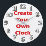 """Create Your Own Clock Design<br><div class=""""desc"""">Replace the message with your own image or background using this clock template,  already complete with clock face numbers.</div>"""
