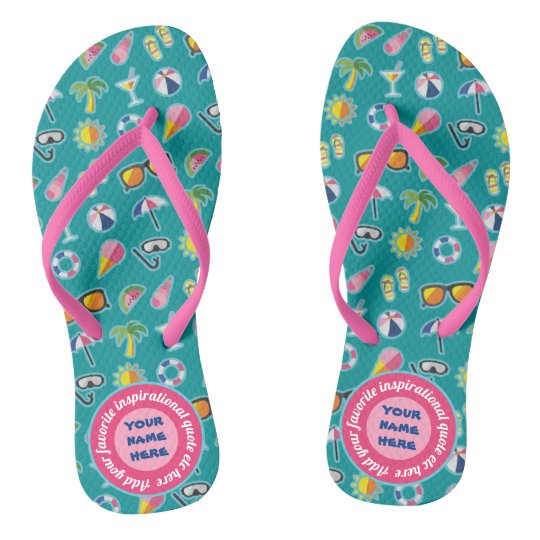 9f7f8a28290a Create Your Own Coastal Pattern Monogram Teal Flip Flops