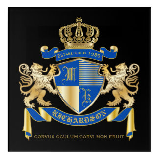Create Your Own Coat of Arms Blue Gold Lion Emblem Acrylic Wall Art