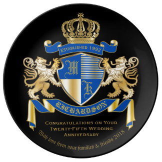Create Your Own Coat of Arms Blue Gold Lion Emblem Dinner Plate