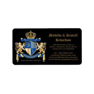 Create Your Own Coat of Arms Blue Gold Lion Emblem Label