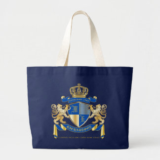 Create Your Own Coat of Arms Blue Gold Lion Emblem Large Tote Bag