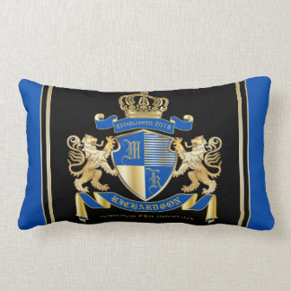 Create Your Own Coat of Arms Blue Gold Lion Emblem Lumbar Pillow