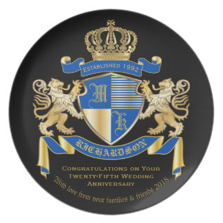 Create Your Own Coat of Arms Blue Gold Lion Emblem Melamine Plate