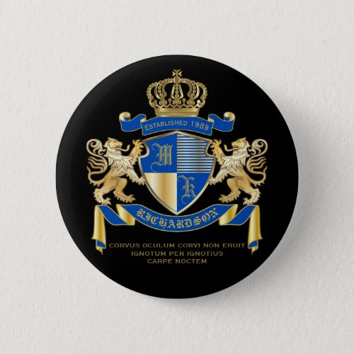 Create Your Own Coat of Arms Blue Gold Lion Emblem Pinback Button