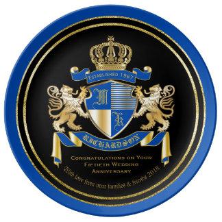 Create Your Own Coat of Arms Blue Gold Lion Emblem Porcelain Plate