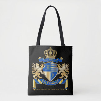 Create Your Own Coat of Arms Blue Gold Lion Emblem Tote Bag