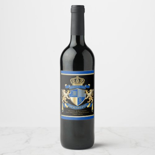 Create Your Own Coat of Arms Blue Gold Lion Emblem Wine Label