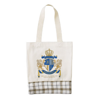 Create Your Own Coat of Arms Blue Gold Lion Emblem Zazzle HEART Tote Bag