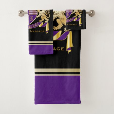 Create Your Own Coat of Arms Monogram Crown Emblem Bath Towel Set